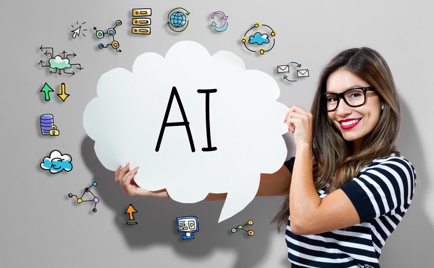 AI text with young woman holding a speech bubble